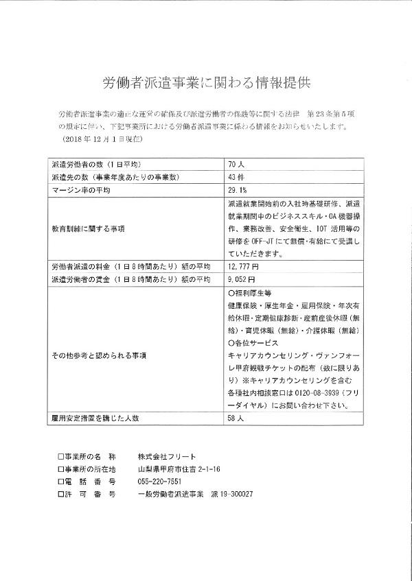 『 労働者派遣事業に関わる情報提供 』